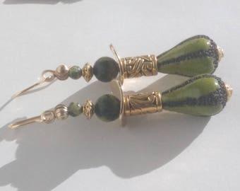 Earrings Golden glazed ceramic
