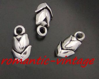 5 charms, with little flower 10 * 8mm antique silver