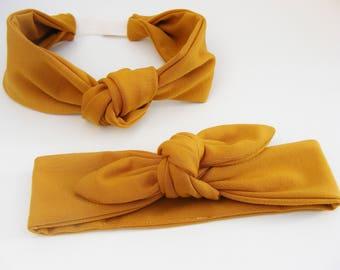 Bandeaux / Headbands jersey tout doux ocre, pour les petites et les grandes