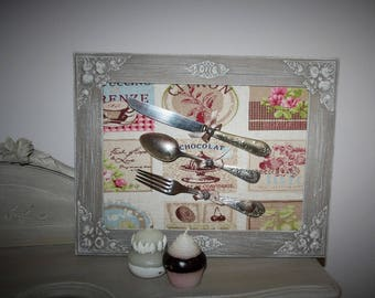 Frame home decor and its pastry theme flatware