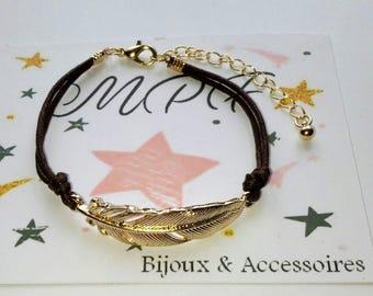 Gold leaf cord bracelet