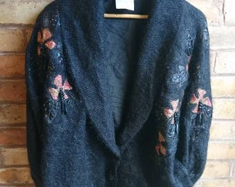 Vintage mohair cardigan with beading