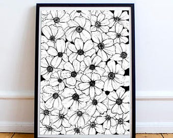 A4 print/poster with hand-drawn flowers | Drawing |  Lettering | Illustration | Decor | Inspiration