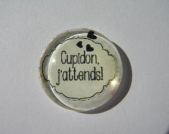 """Cabochon 25 mm with the Scripture """"Cupid waiting"""" collection of angels"""