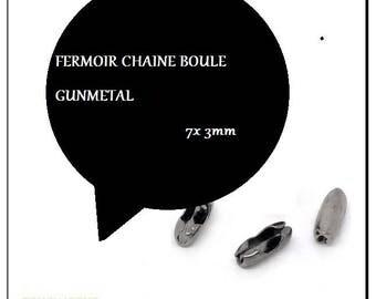 7x3mm GUNMETAL ball chain clasp