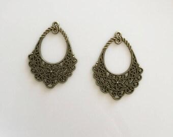 candlesticks oval bronze metal