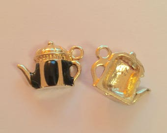 Gold black enamel teapot