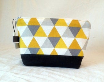 case, zipped, grey and mustard