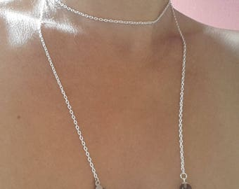 with Topaz and mother of Pearl stone Lariat Necklace
