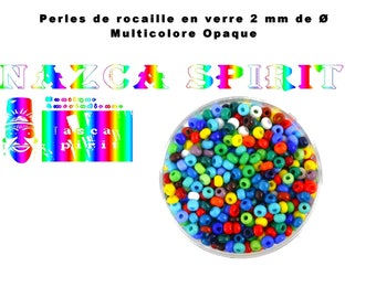 20gr of seed beads multicolor opaque glass with 2 mm to ∅ for Creations native Americans