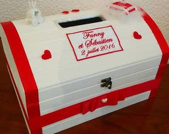Money box / URN for baptism, wedding, birthday, communion: the Princess theme wooden chest