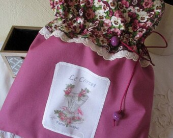 Shabby lingerie pouch * forget me not... * handmade appliqué France