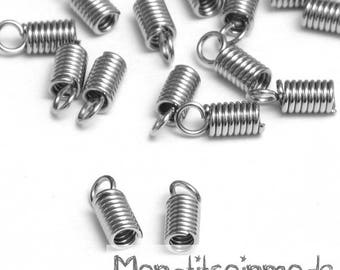 Spring 50 end caps for cord silver 9x4mm