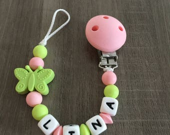 PACIFIER PINK CORAL AND LIME GREEN - IDEAL BIRTH GIFT