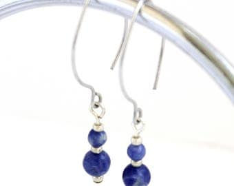 Silver and sodalite earrings