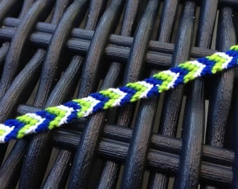 Friendship Bracelet Navy Blue, green and yellow