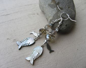 """Dangle earrings """"sea"""" theme, mother of Pearl fish, smoky gray glass beads and silver"""