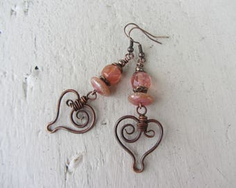 """romantic earrings """"wrought iron"""" heart beads and copper pink coral stone and handmade glass, feminine and romantic earrings"""
