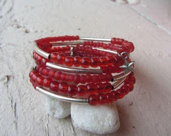 boho bracelet, boho chic red and silver, red chunky MULTISTRAND seed bead cuff matte and shiny and Silver metallic tubes