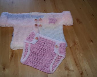 for spring or summer set 0/3 months baby onesie and jacket