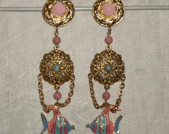 Earrings clip vintage baroque fish