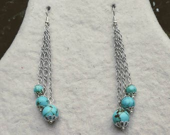 Silver plated earrings with turquoise beads