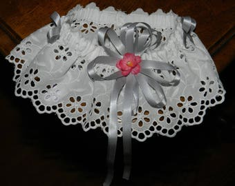 Garter lace embroidery anglaise satin
