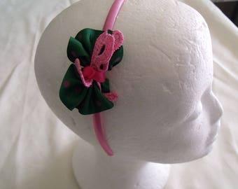 LIQUIDATION pink satin headband bow dark green and pink ribbon