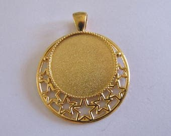 golden pendant for cabochon 25mm
