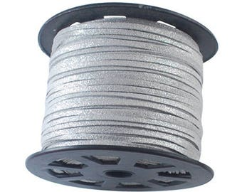 Cord silver 3mms wide 1 mm thick