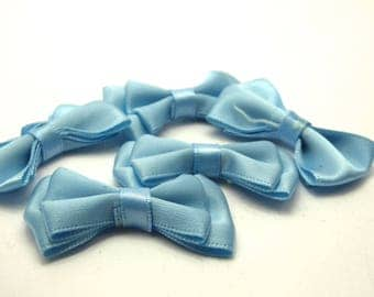 5 34x24mm sky-blue satin ribbons