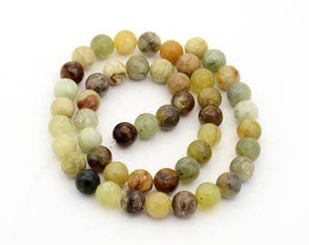 10 beads of Jade Xiuyan natural round yellow-green chamare 8 mm hole: 1 mm