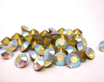 30 Crystal AB 8 mm faceted beads