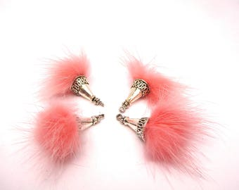 4 balls of faux fur pink 25mm with CAP and eye