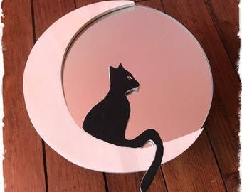 Mirror cat and moon