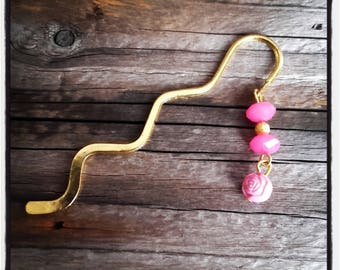 gold charm bookmark pink beads