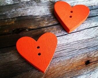 button heart sewing wooden Orange 2.3 cm x 2.4 cm x 4 mm