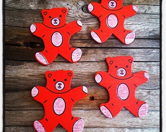 set of 4 Cubs wooden red 34mm x 30mm