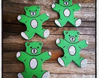 set of 4 Cubs wooden green 34mm x 30mm