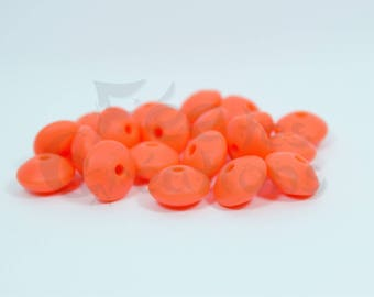 10 pearls flat 12mm orange silicone pacifier, rattle etc.