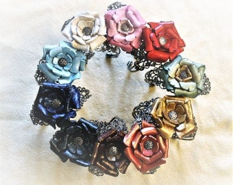 Bracelet pink leather flower molded on ring Super gray metal lace feminine chic jewelry glamorous special Christmas gift woman