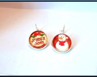 Merry Christmas cabochon earrings.
