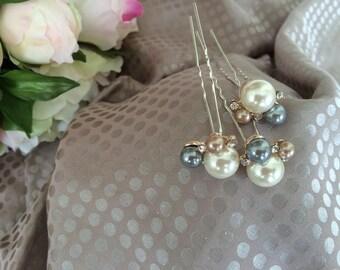 Set of three white and gray Pearl rhinestone hair pins