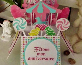 "Card-birthday invitation box, handmade, ""Carnival"" theme - with envelope"