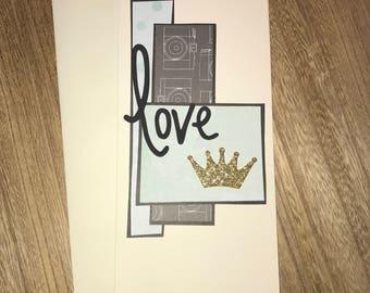 "Handmade Notecard w/ Layered Scrapbook Paper Foam Embellishement Ivory 9"" x 4"" Love"