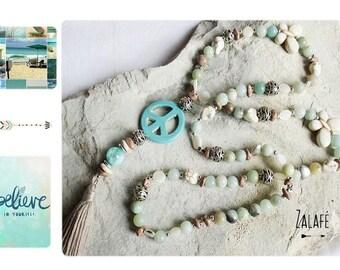 necklace tassel amazonite gemstone-turquoise-mala-peace and love-silver tibet-bohemian-gypsy-hippy chic-boho-bobo