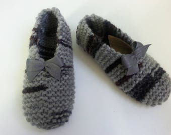 Slippers women and girls 50% wool 35-36 colorful woolen grey - Christmas gift ideas