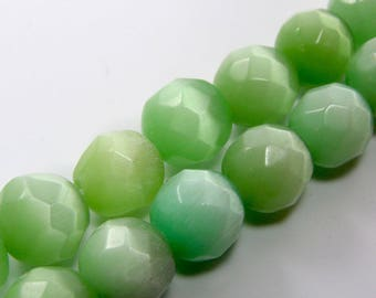 Set of 4 10 mm Green faceted cat's eye glass beads