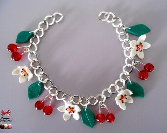 Cherry blossom and cherry bracelet