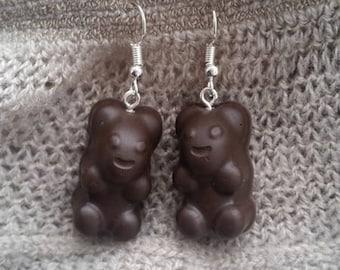 Brown resin ears candy bear earrings
